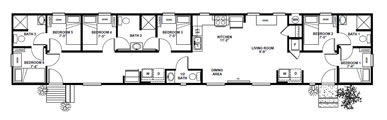 1140 sq. ft. 6 bedroom bunkhouse